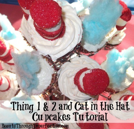 Cat in the hat and thing 1 and thing 2 cupcakes