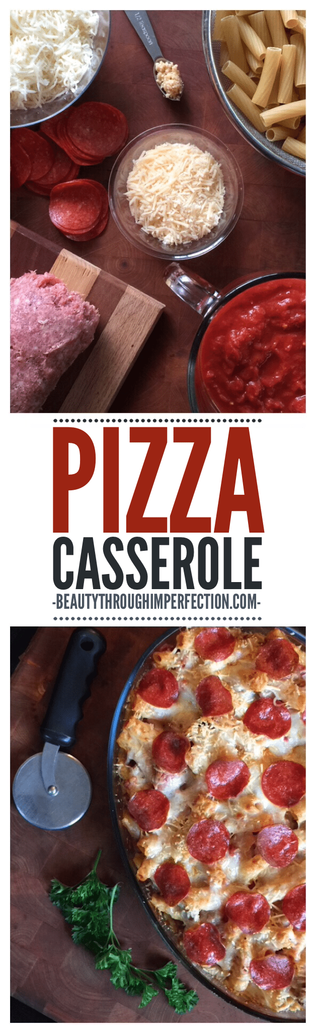 That looks so good and so does such a simple recipe!  Easy dinner pizza casserole