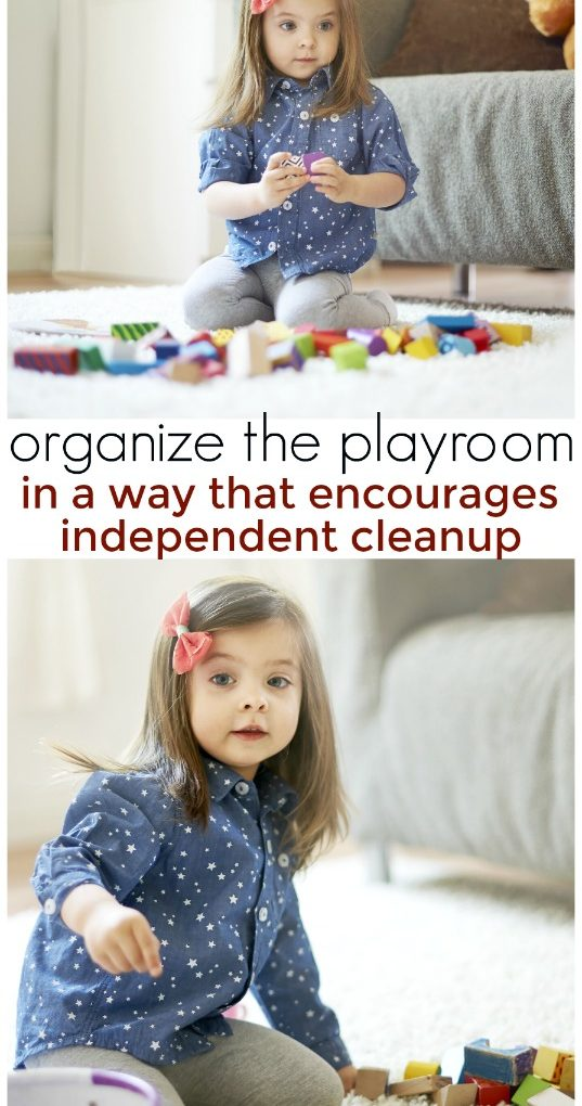 Organize your toddler's playroom with these simple tips. These organizational methods will help encourage independence in your toddlers and teach them how to work on their cleanup skills. #toddlers #organize