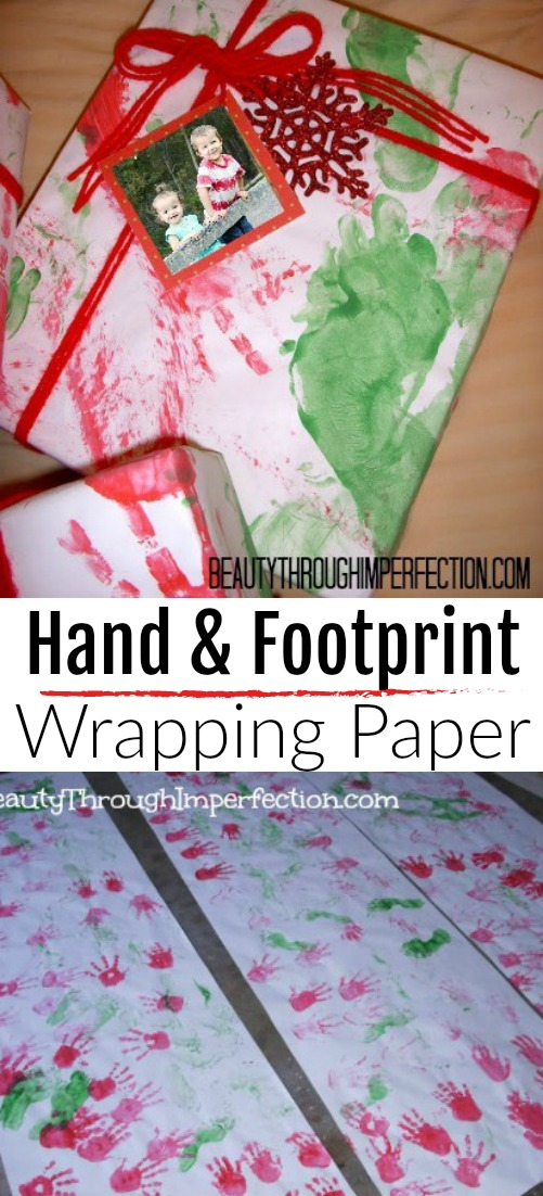 Make your own handprint and footprint wrapping paper for Christmas gift wrapping