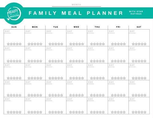 BTI Meal Plan Printable image