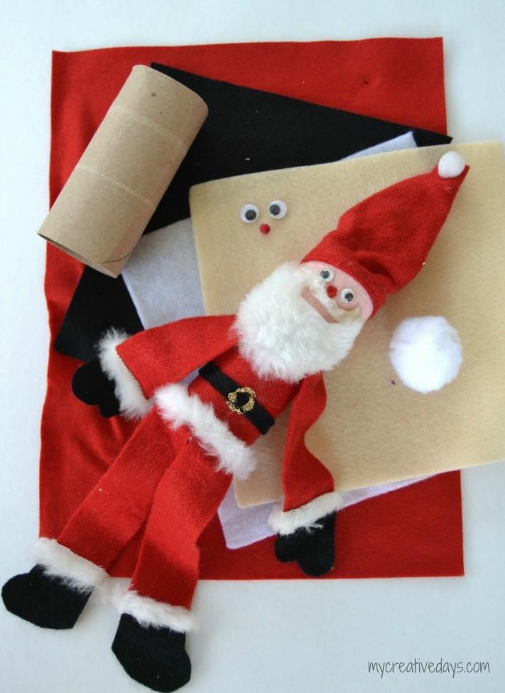 Toilet Paper Roll Santa Craft #santa #christmas #christmascrafts #craftsforkids #santaclaus