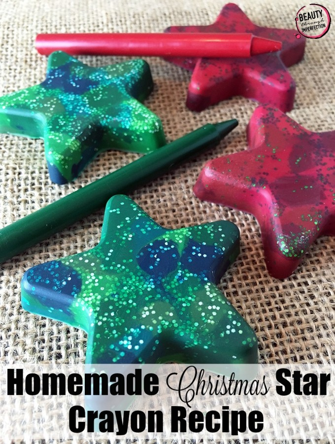 Homemade Star Shaped Glitter Crayons