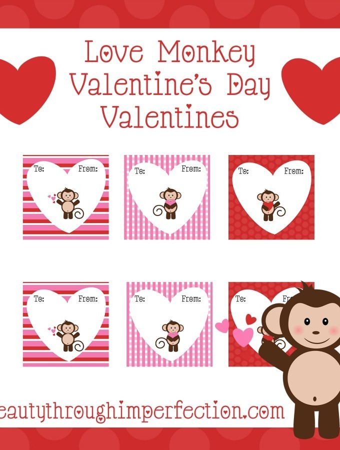 Monkey Valentines {free printables}