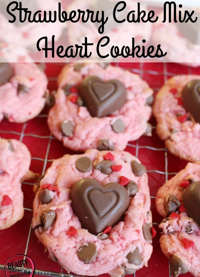 Strawberry Chocolate Chip Heart Cookies