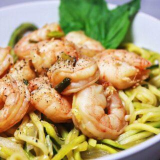 Asian Style Shrimp Zoodle (Zucchini Noodle) Stir Fry