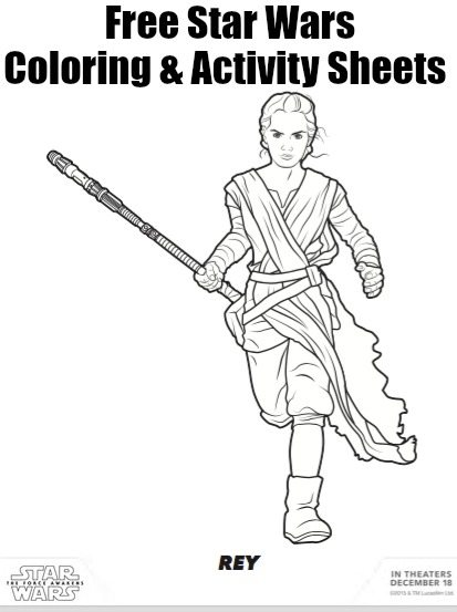 Rey from star wars coloring and activity pages