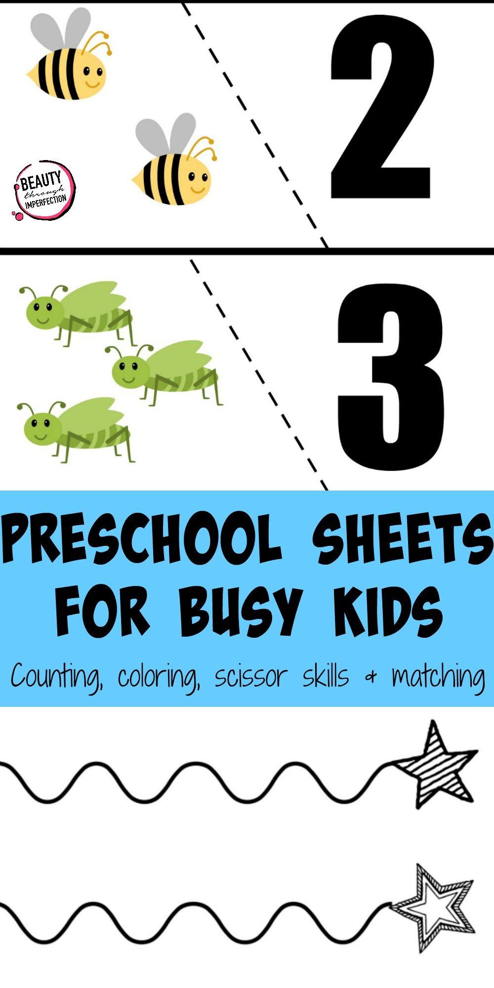 preschool busy sheets