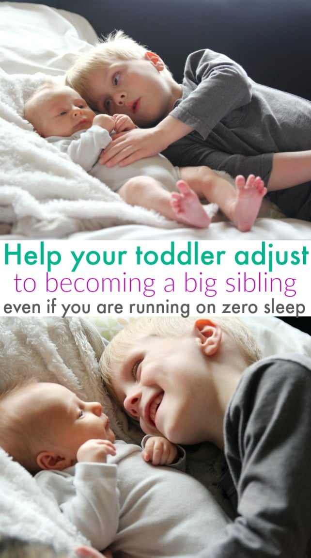 How to help your toddler adjust to being a big sibling. If your toddler is acting out or throwing tantrums since the new baby was born these tips will help ease the transition. #toddler #newbaby #motherhood #tantrums