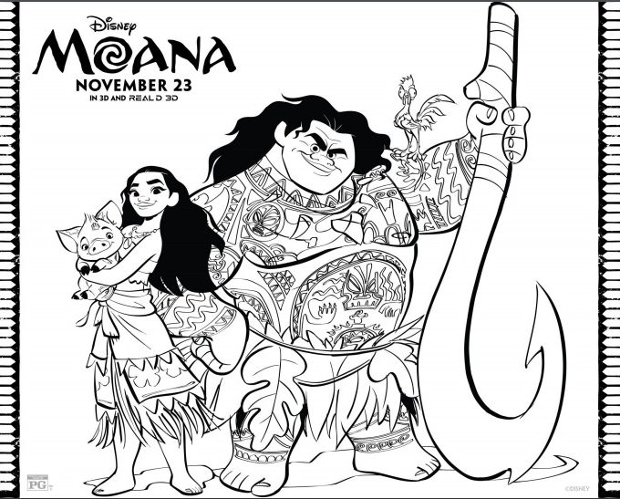 Free Coloring Sheets for Disney's Moana