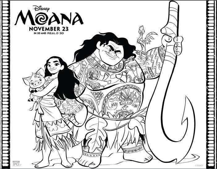 Free Coloring Sheets for Disney\'s Moana - Beauty Through Imperfection