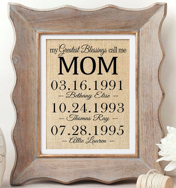 Special Gifts For Mom Part - 38: Protip: Make Sure You Get Every Oneu0027s Birthdays Right Before You Order This  Burlap Print Showcasing A Few Of Momu0027s Most Special Days.