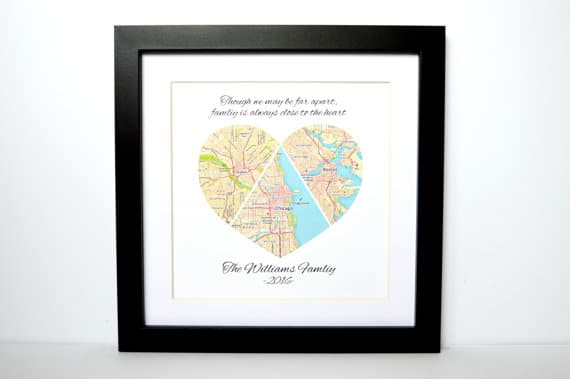 This Heart Map Is A Great Gift Idea For Moms Who Have Kids Tered Across The Country Or Globe Pull Little Pieces Of Maps From Each Place Together