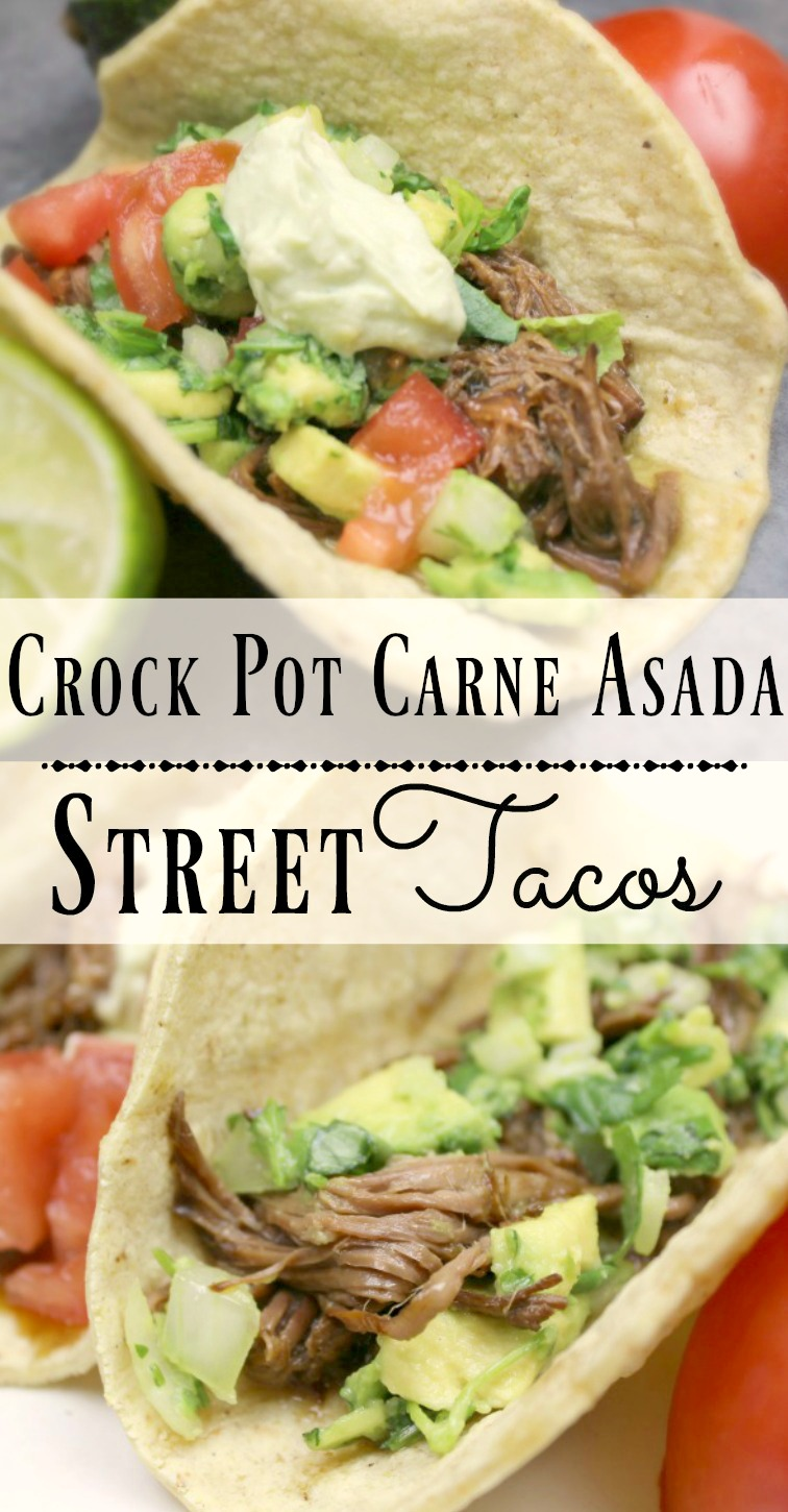 These Crock Pot Carne Asada Street Tacos are so easy and yummy!
