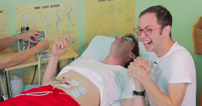 Watch this man experience simulated labor pain