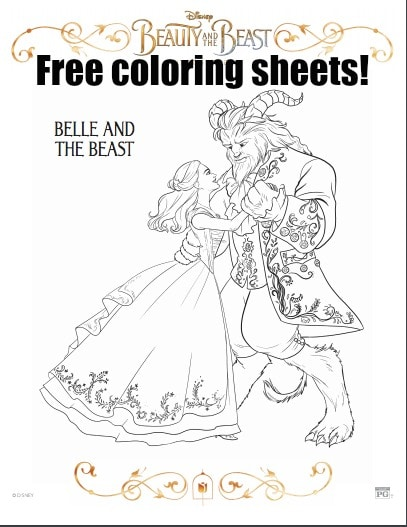 Beauty and the Beast Free Coloring Sheets Beauty Through