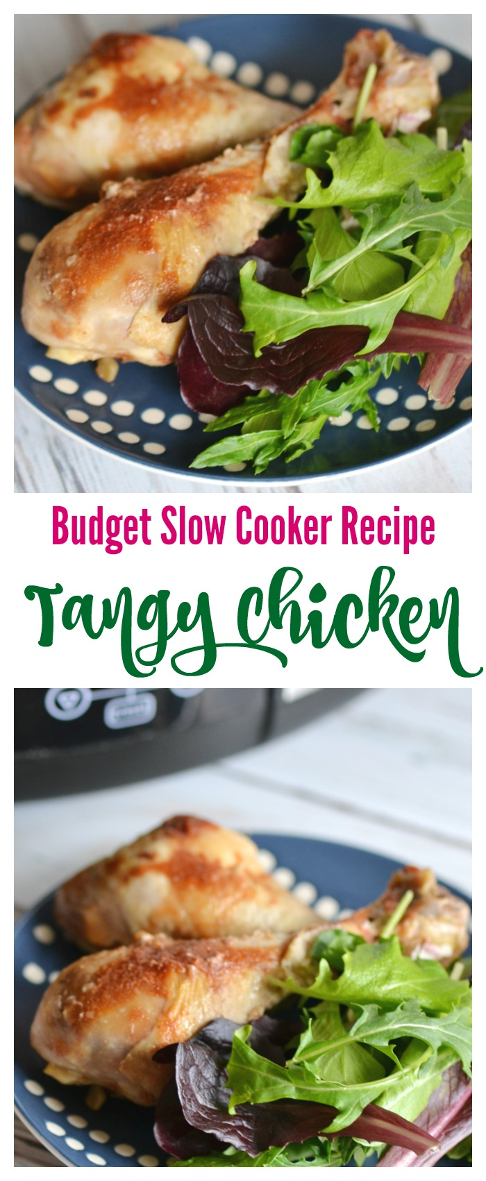 Budget Slow Cooker Recipe: Tangy Chicken. This easy cheap crock pot recipe is great for nights when you have little time to prep but want a great meal for your family.