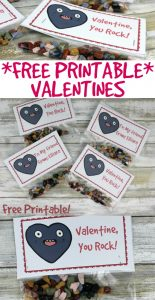 Classroom valentine idea free printable YOU ROCK VALENTINE - chocolate rocks