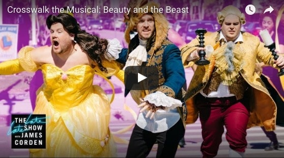 James Corden + Beauty and the Beast Cast performing in the crosswalk