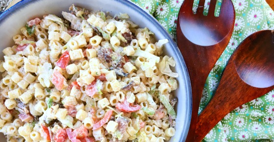 This flavor packed BLT Pasta Salad has a couple of secret ingredients that give it an extra kick of flavor!