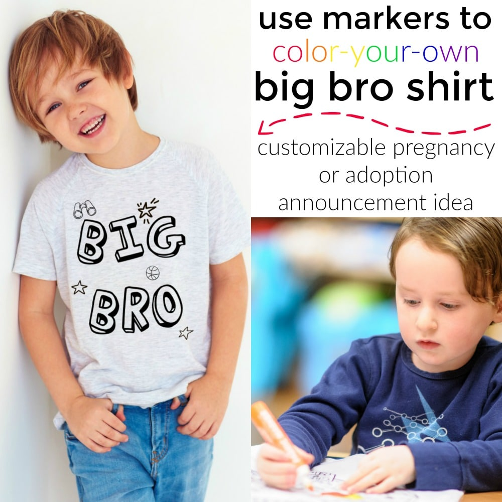 Perfect Gift Idea For Elder Sibling Kids T-Shirt Baby Announcement Big Brother
