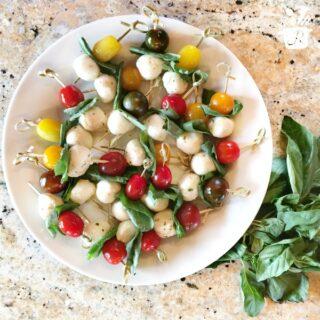 Caprese Skewers | Tomato, Basil, Mozzarella Bites