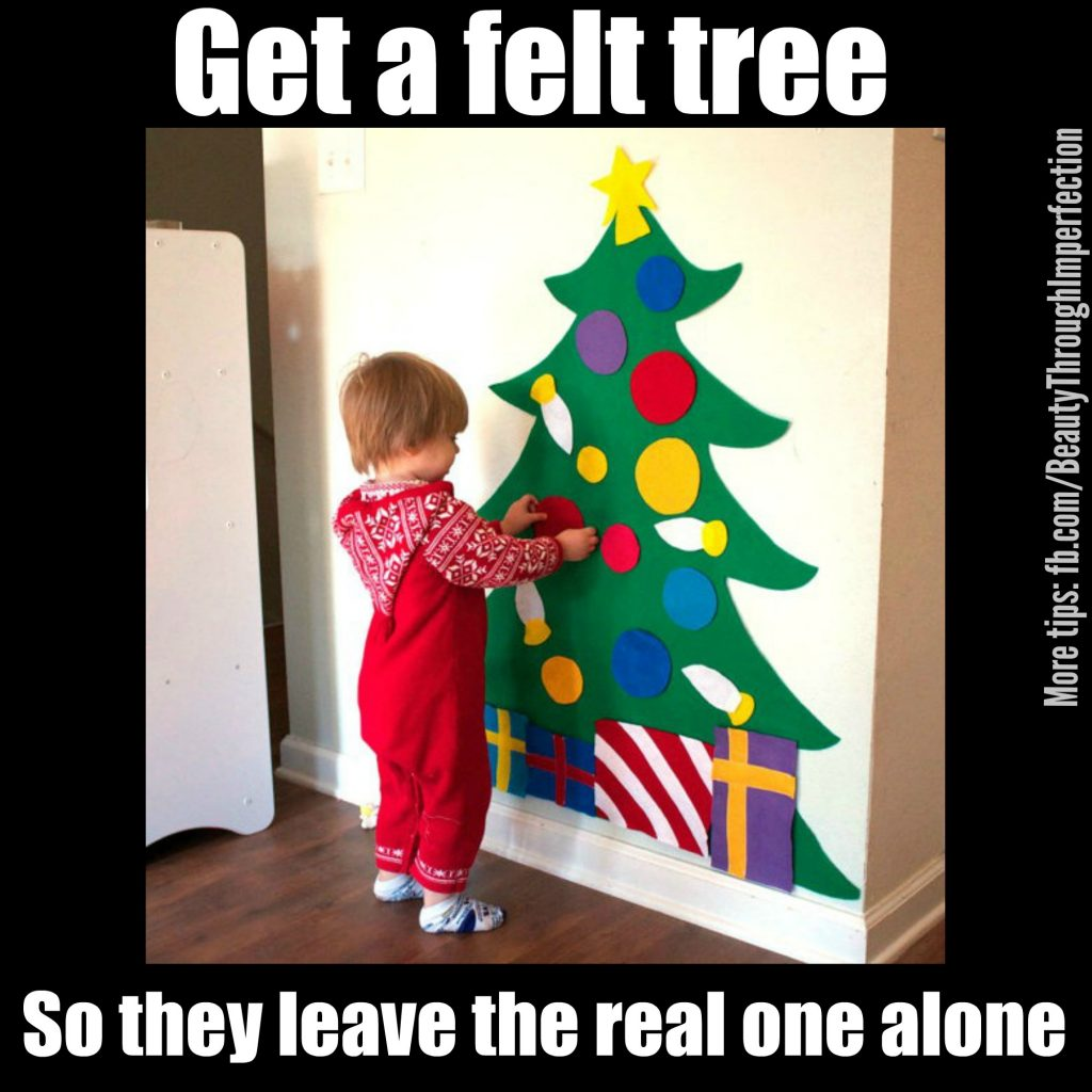 This is brilliant! Get a felt Christmas tree for the wall so the kids can play with that instead of messing with the real tree. Smart solutions for Christmas with toddlers. (ad)