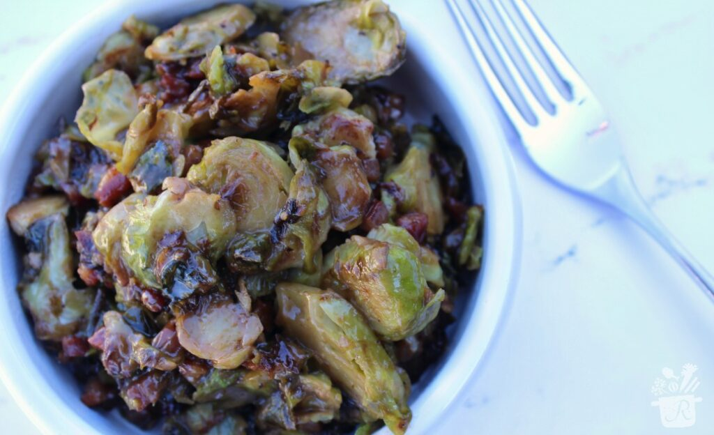 Creamy Balsamic Shaved Brussels Sprouts with Pancetta
