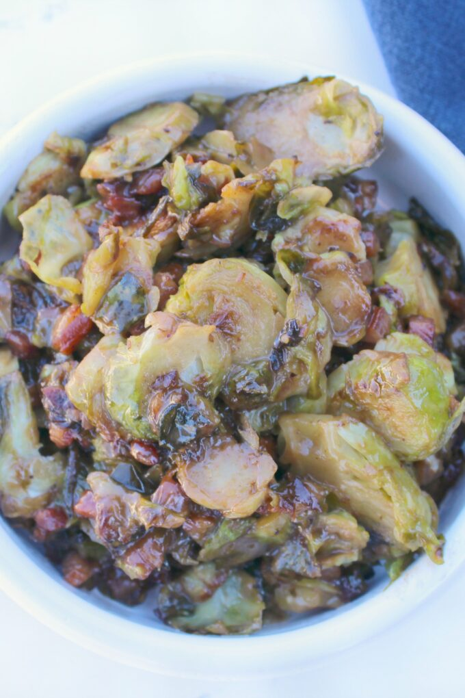 Creamy Balsamic Brussels Sprouts with Pancetta
