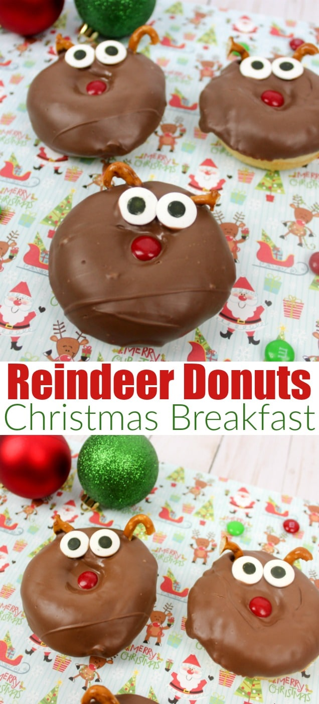 Reindeer Donuts for #christmas Breakfast. #breakfast #christmasfood #reindeer #partyfood #holidayparty #rudolf