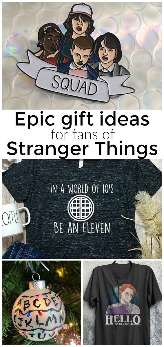 Epic gift ideas for fans of stranger things. #giftideas #strangerthings #fandom #christmas #netflixandchill #netflix
