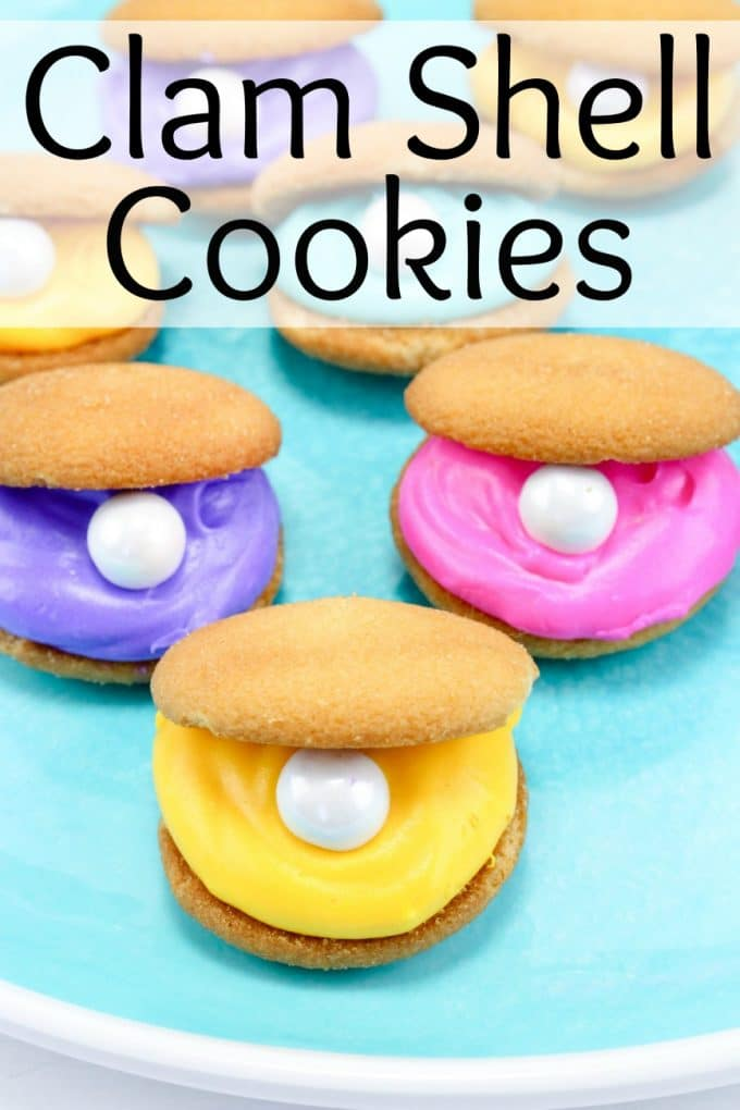 Clam shell cookies perfect for a mermaid party