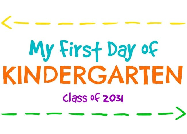 First Day of Kindergarten Printable