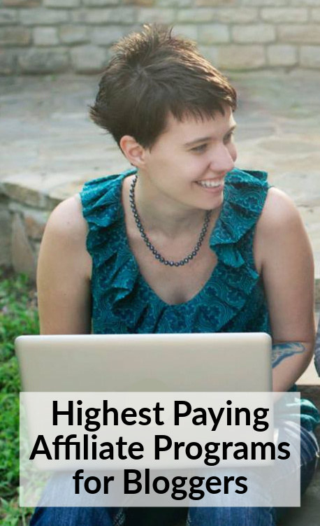 "image: woman sitting outside with laptop. Image text reads ""highest paying affiliate programs for bloggers"""